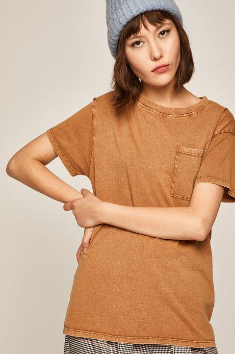 T-shirt damski z kieszonką beżowy
