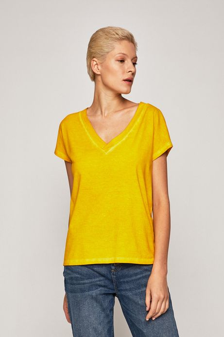 T-shirt damski ze spiczastym dekoltem żółty