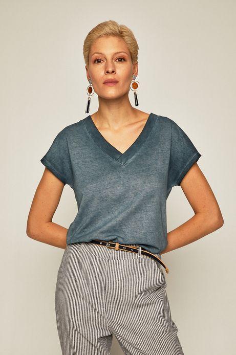 T-shirt damski ze spiczastym dekoltem niebieski