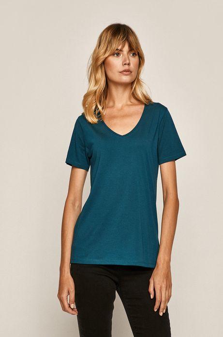 T-shirt damski ze spiczastym dekoltem morski