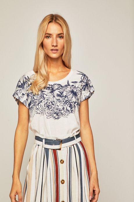 T-shirt damski z ozdobnym detalem na plecach biały