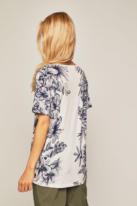 T-shirt damski ze spiczastym dekoltem wzorzysty