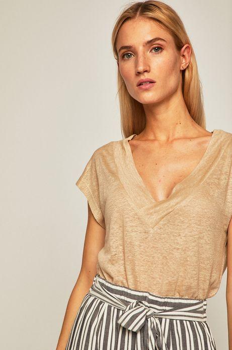 T-shirt damski lniany beżowy