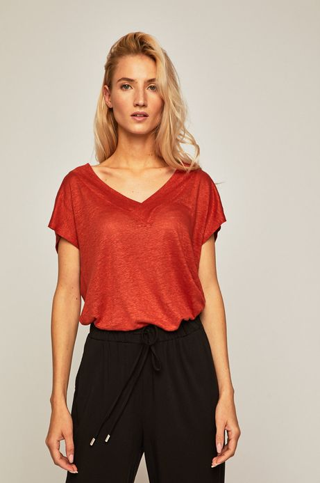 T-shirt damski lniany bordowy
