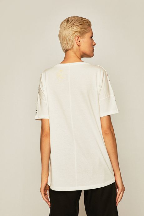 T-shirt damski z nadrukiem kremowy