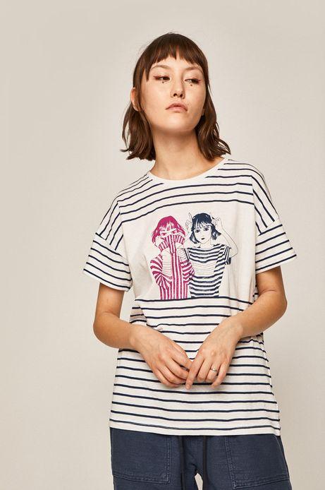 T-shirt damski w paski biały
