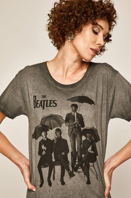 T-shirt damski z nadrukiem Music Wall szary