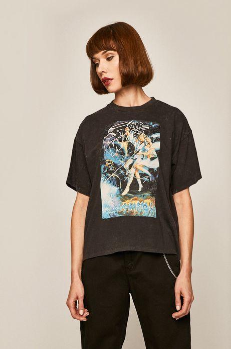 T-shirt damski z nadrukiem Iconic Movies szary