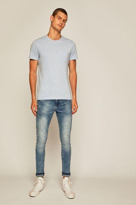 T-shirt męski z kieszonką niebieski