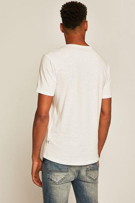 T-shirt męski ze spiczastym dekoltem biały