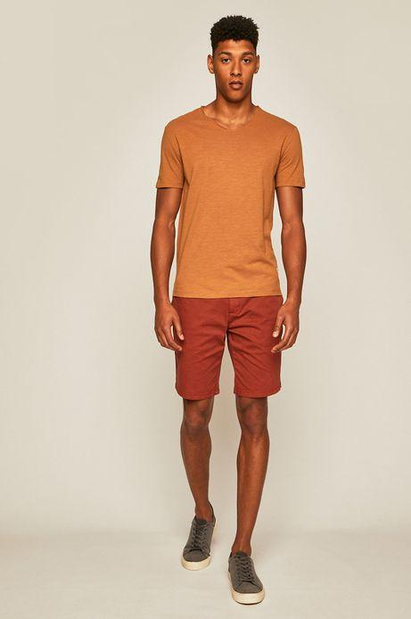 T-shirt męski ze spiczastym dekoltem brązowy