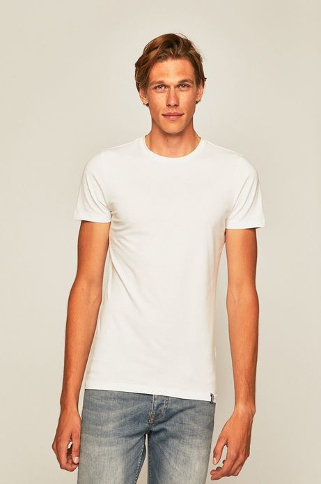 T-shirt męski z gładkiej dzianiny biały