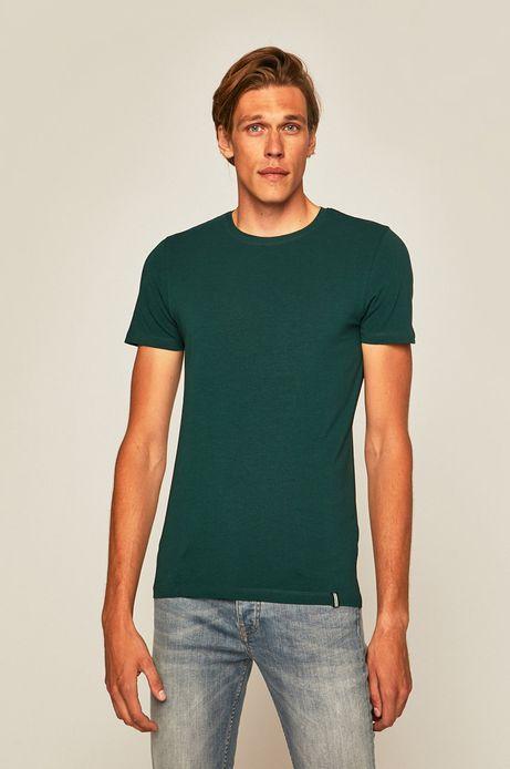 T-shirt męski z gładkiej dzianiny zielony