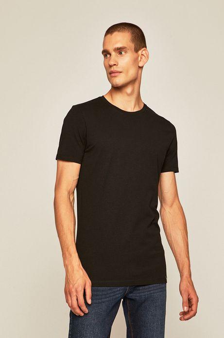 T-shirt męski z gładkiej dzianiny czarny