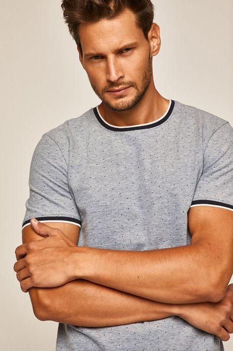 T-shirt męski w kropki niebieski