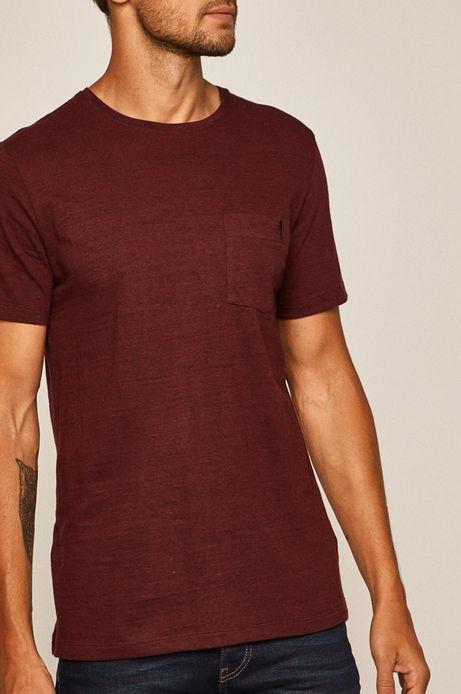 T-shirt męski z kieszonką bordowy