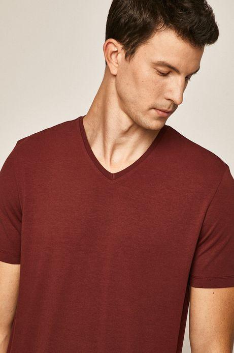 T-shirt męski ze spiczastym dekoltem bordowy