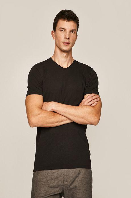 T-shirt męski ze spiczastym dekoltem czarny