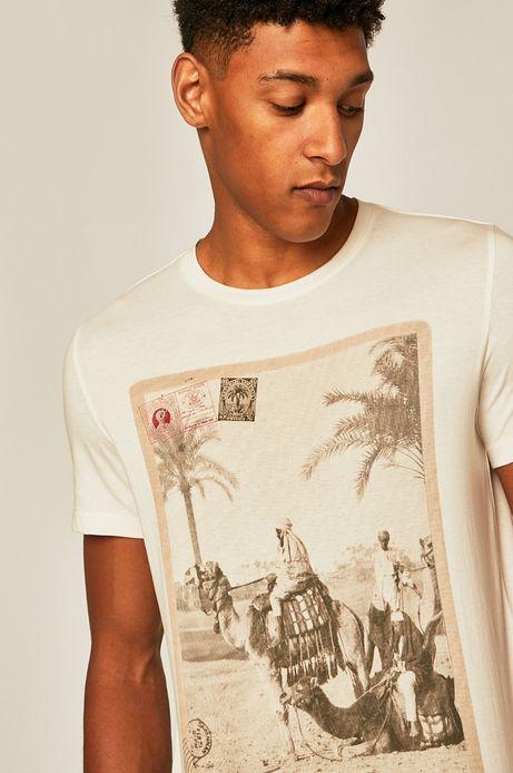 T-shirt męski z nadrukiem kremowy