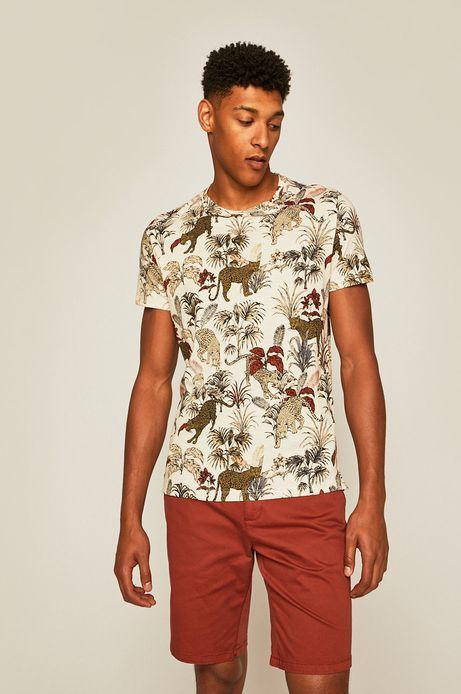 T-shirt męski wzorzysty kremowy