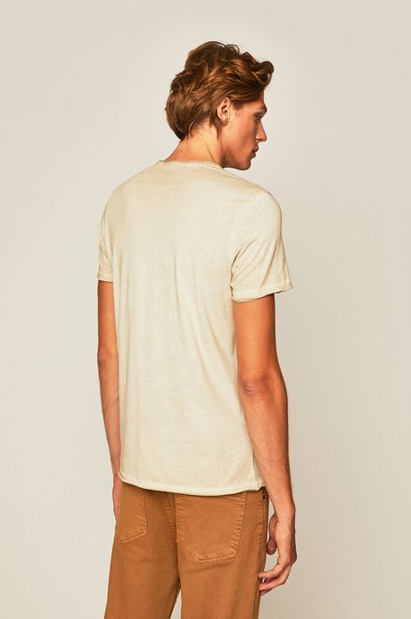 T-shirt męski z nadrukiem beżowy