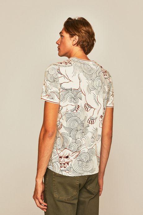 T-shirt męski wzorzysty beżowy