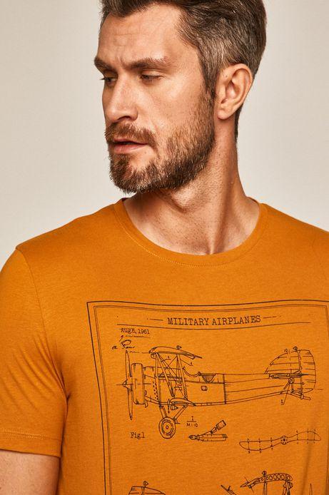 T-shirt męski z nadrukiem żółty