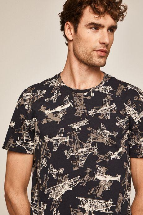 T-shirt męski z nadrukiem w samoloty granatowy