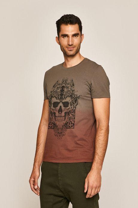 T-shirt męski z nadrukiem brązowy