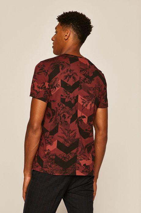 T-shirt męski wzorzysty bordowy