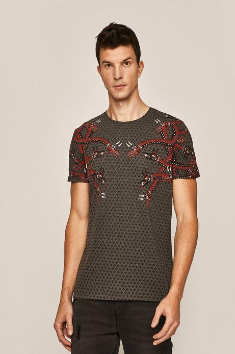 T-shirt męski wzorzysty szary