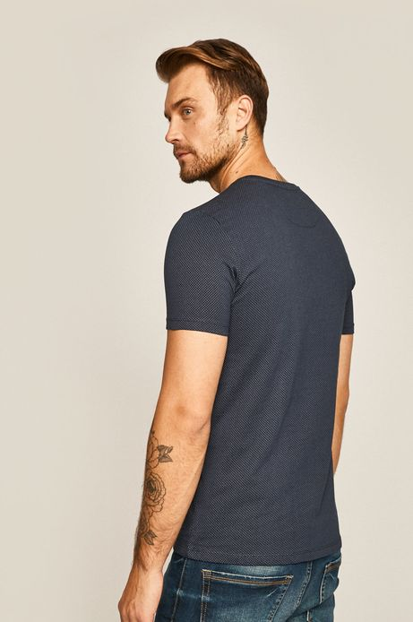 T-shirt męski w kropki granatowy