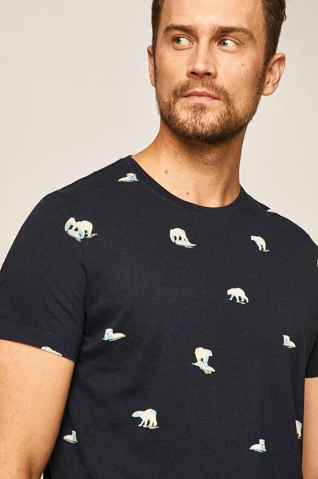 T-shirt męski z nadrukiem w niedźwiedzie granatowy
