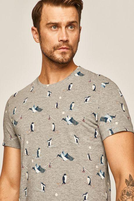 T-shirt męski z nadrukiem w pingwiny szary