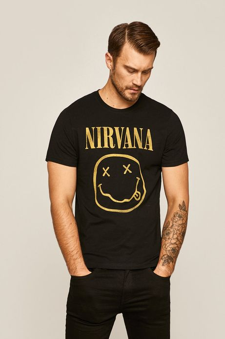 T-shirt męski z nadrukiem Music Wall czarny