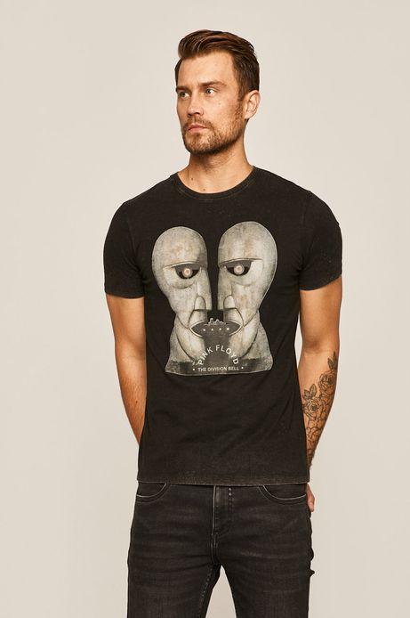 T-shirt męski z nadrukiem Music Wall szary