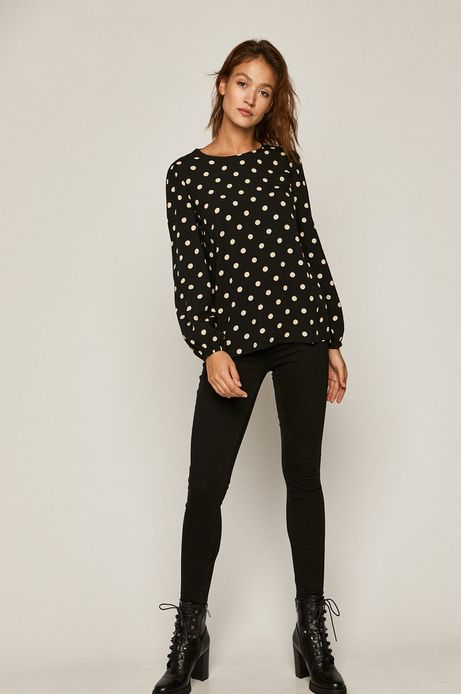 Bluzka damska z nadrukiem w drobne kwiatki czarna
