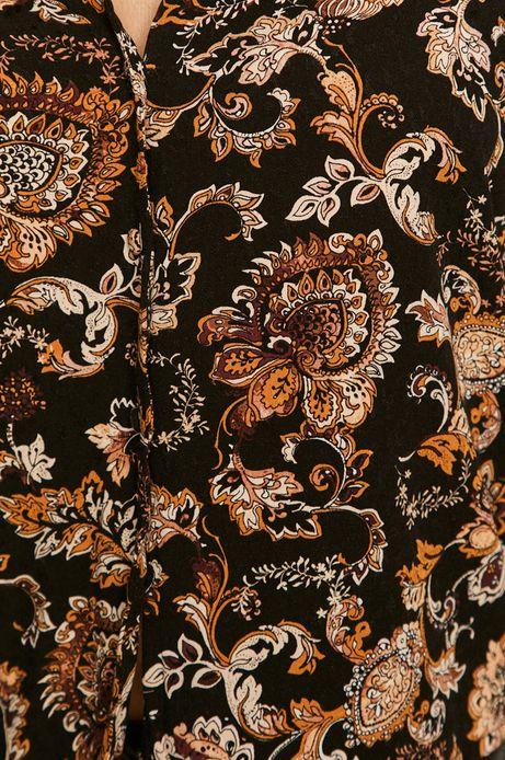 Bluzka damska ze spiczastym dekoltem wzorzysta