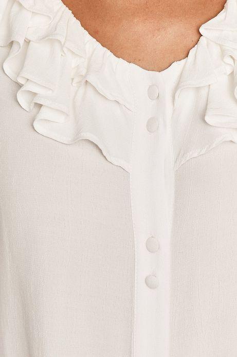 Bluzka damska z falbanką kremowa