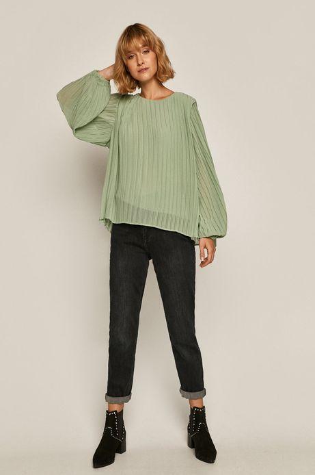 Bluzka damska plisowana zielona