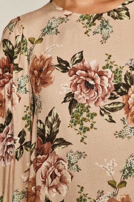 Bluzka damska w kwiaty beżowa