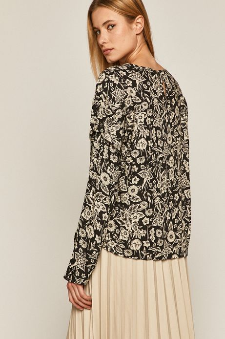 Bluzka damska w kwiaty czarna