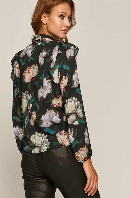 Bluzka damska z falbankami w kwiaty czarna