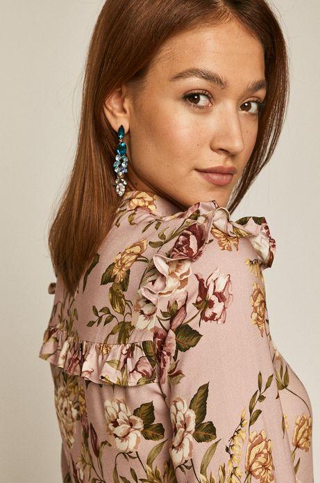 Bluzka damska z falbanką w kwiaty różowa
