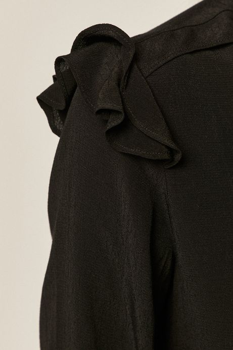 Bluzka damska z falbanką czarna
