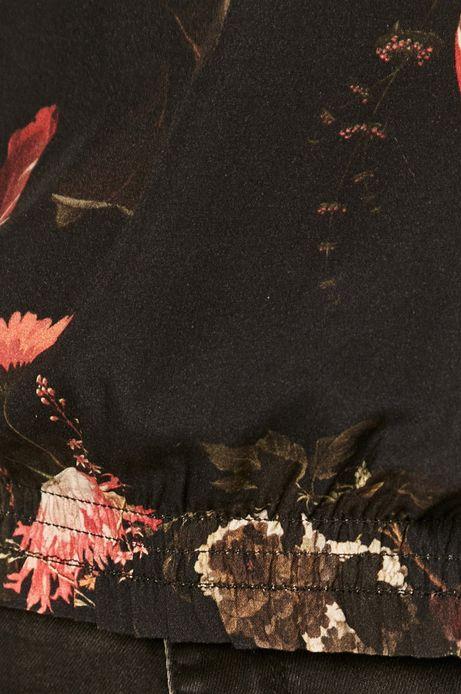 Bluzka damska w kwiaty ze stójką czarna