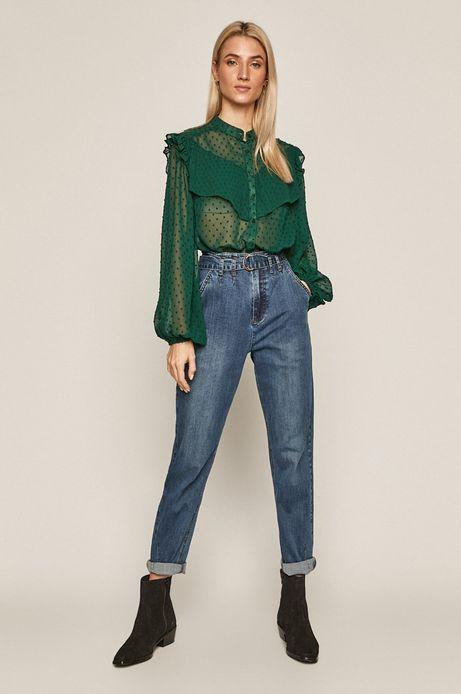 Bluzka damska z tkaniny plumeti zielona