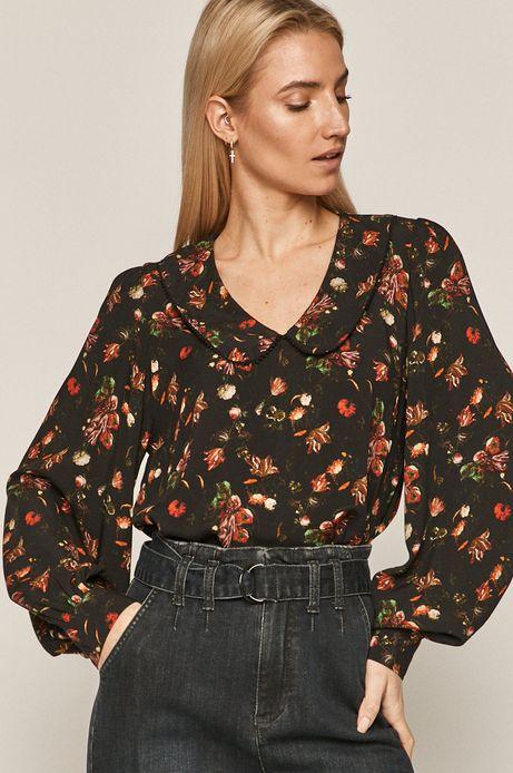 Bluzka damska z okrągłym kołnierzem czarna