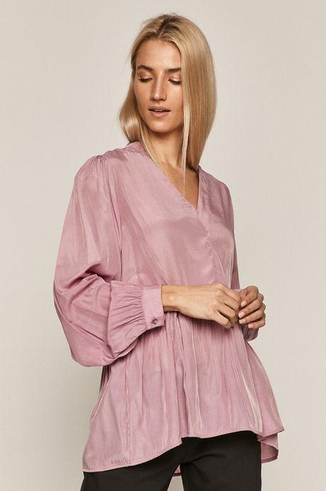 Bluzka damska ze spiczastym dekoltem różowa