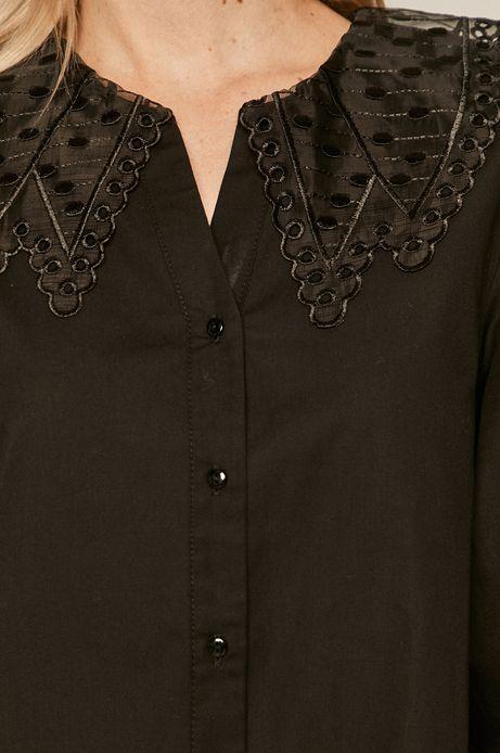 Koszula bawełniana damska z ozdobnym kołnierzem czarna